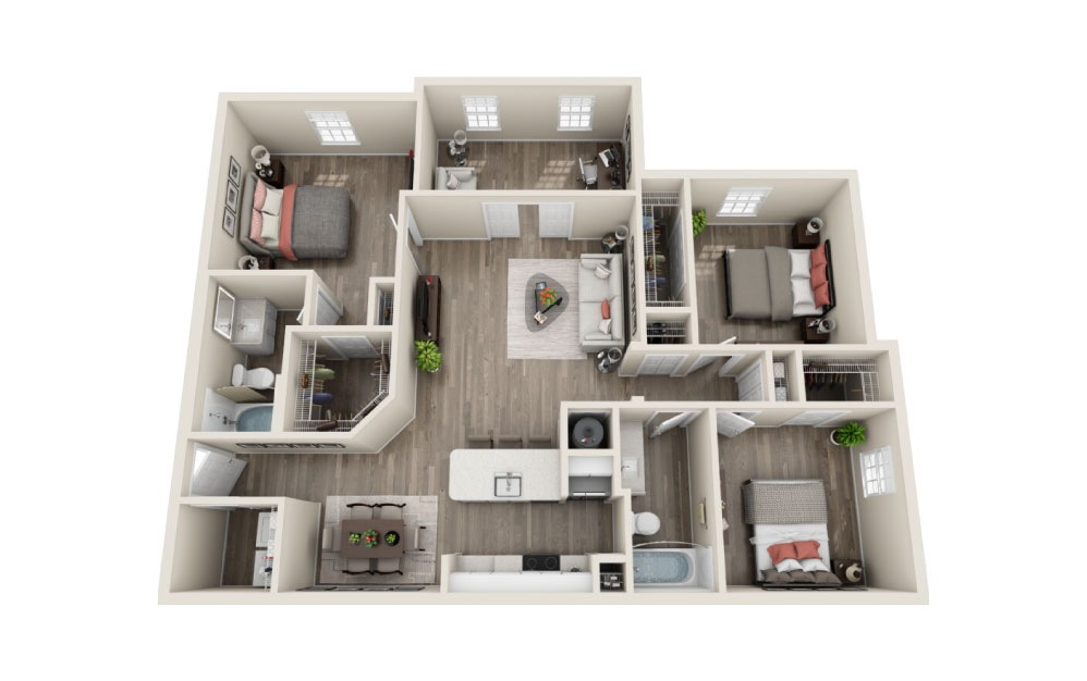 Buckingham Renovated - 3 bedroom floorplan layout with 2 baths and 1450 square feet.