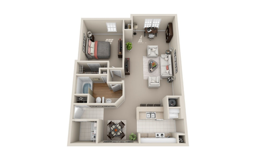 Hampton Classic - 1 bedroom floorplan layout with 1 bath and 973 square feet.