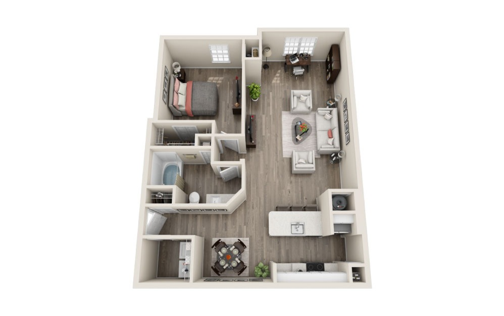 Hampton Renovated - 1 bedroom floorplan layout with 1 bath and 973 square feet.