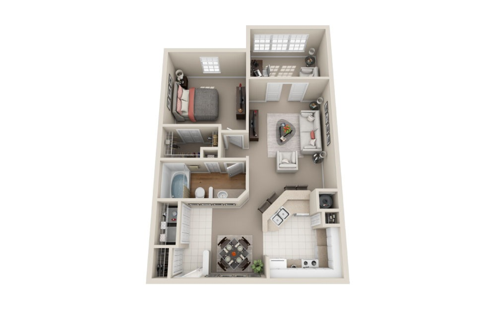 Sherwood Classic - 1 bedroom floorplan layout with 1 bath and 849 square feet.