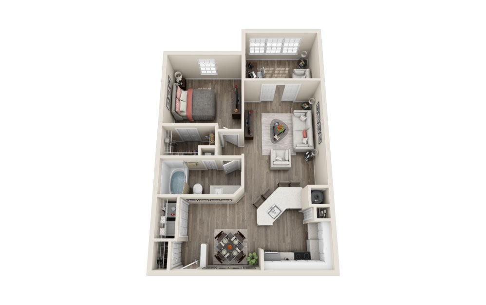 Sherwood Renovated - 1 bedroom floorplan layout with 1 bath and 849 square feet.