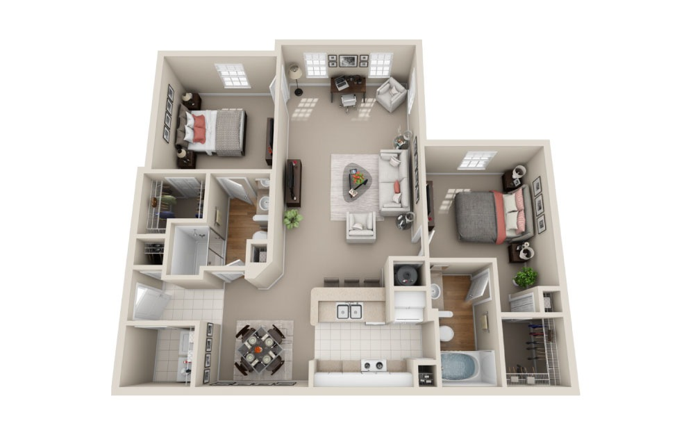 Westminister Classic - 2 bedroom floorplan layout with 2 baths and 1201 square feet.