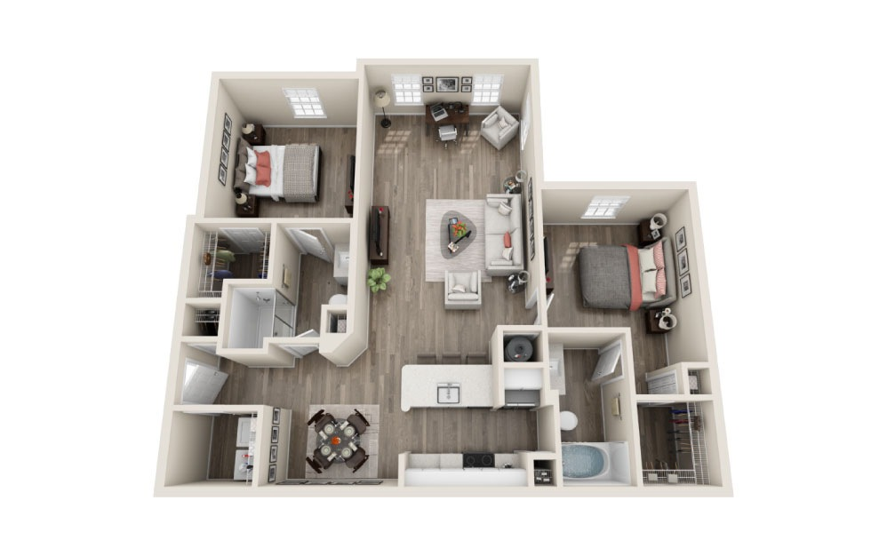 Westminister Renovated - 2 bedroom floorplan layout with 2 baths and 1201 square feet.
