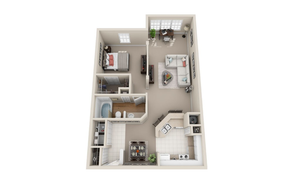Windsor Classic - 1 bedroom floorplan layout with 1 bath and 849 square feet.